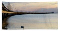 Calm Evening By The Bridge Beach Towel