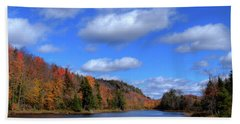 Calmness On Bald Mountain Pond Beach Towel by David Patterson