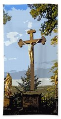 Beach Towel featuring the photograph Calvary Group - Parkstein by Juergen Weiss