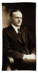 Calvin Coolidge Portrait Beach Towel