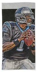 Cam Newton Carolina Panthers Art Beach Towel
