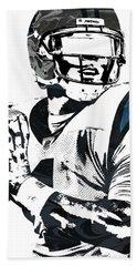 Beach Towel featuring the mixed media Cam Newton Carolina Panthers Pixel Art 3 by Joe Hamilton