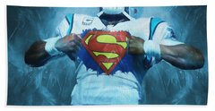 Cam Newton Superman Beach Towel by Dan Sproul