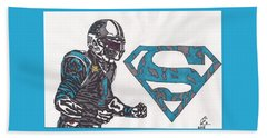 Cam Newton Superman Edition Beach Sheet by Jeremiah Colley