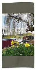 Beach Towel featuring the photograph Cambridge Riverbank In Spring by Gill Billington