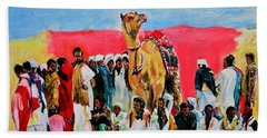 Camel Festival Beach Towel by Khalid Saeed