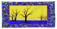 Beach Towel featuring the painting Camel Thorn Trees  by Ken Frischkorn