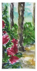 Beach Towel featuring the painting Camellia Bush 2 by Frank Bright