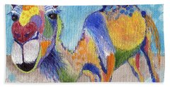 Beach Towel featuring the painting Camelorful by Jamie Frier