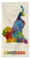 Beach Towel featuring the digital art Cameroon Watercolor Map by Michael Tompsett