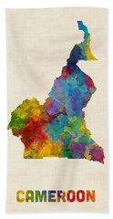 Beach Sheet featuring the digital art Cameroon Watercolor Map by Michael Tompsett
