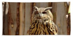Beach Towel featuring the photograph Camouflage Eagle Owl by Debby Pueschel