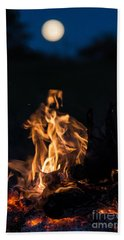 Camp Fire And Full Moon Beach Towel