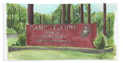 Beach Towel featuring the painting Camp Lejeune Welcome by Betsy Hackett