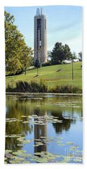 Campanile Reflection In Kansas Beach Towel