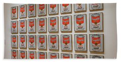 Beach Towel featuring the photograph Campbell Soup By Warhol by Patricia Hofmeester