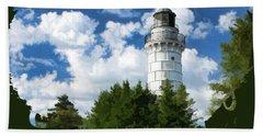 Cana Island Lighthouse Cloudscape In Door County Beach Towel