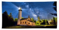 Cana Island Lighthouse Milky Way In Door County Wisconsin Beach Towel by Christopher Arndt