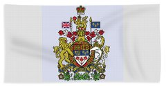 Beach Towel featuring the drawing Canada Coat Of Arms by Movie Poster Prints