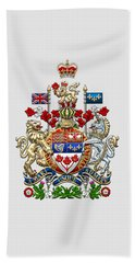 Canada Coat Of Arms Over White Leather Beach Towel