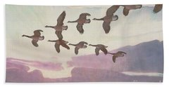 Canada Geese In Spring Beach Towel