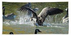 Beach Towel featuring the photograph Canada Goose by Ann E Robson
