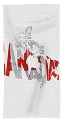 Canada Typographic Map Flag Beach Towel