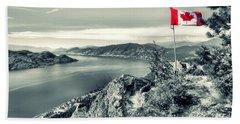 Canadian Flag On Pincushion Mountain Beach Towel