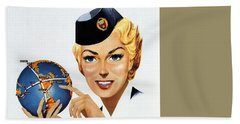 Canadian Pacific Airlines - Straight To The Point - Retro Travel Poster - Vintage Poster Beach Towel