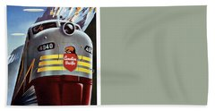 Canadian Pacific - Railroad Engine, Mountains - Retro Travel Poster - Vintage Poster Beach Sheet