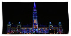Canadian Parliament Light Show Beach Towel by Charline Xia