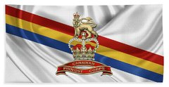 Canadian Provost Corps - C Pro C Badge Over Unit Colours Beach Sheet by Serge Averbukh