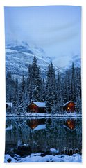 Canadian Rockies Winter Lodges Snow Reflection Beach Towel