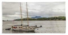 Canadian Sailing Schooner Beach Towel by Timothy Latta