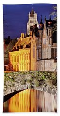 Beach Towel featuring the photograph Canal Bridge At Night - Bruges by Barry O Carroll