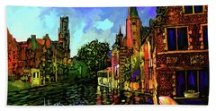 Canal In Bruges Beach Towel