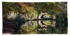 Canal Path In Autumn Beach Towel by Shirley Mitchell