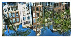 Beach Towel featuring the photograph Amsterdam Canal Reflection  by Allen Beatty