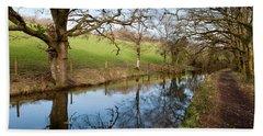 Canal Reflections Beach Sheet by Helen Northcott