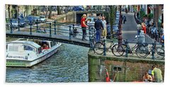 Beach Towel featuring the photograph Amsterdam Canal Scene 1 by Allen Beatty