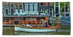 Beach Towel featuring the photograph Amsterdam Canal Scene 10 by Allen Beatty