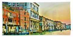 Beach Towel featuring the photograph Canal Sunset - Venice by Tom Cameron