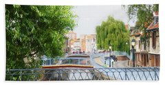 Canal View In Amiens Beach Towel by Therese Alcorn