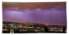 Beach Towel featuring the photograph Canberra Lightning Storm by Angela DeFrias