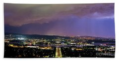 Beach Towel featuring the photograph Canberra Stormy Night by Angela DeFrias