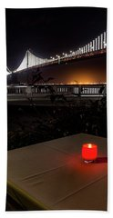 Beach Towel featuring the photograph Candle Lit Table Under The Bridge by Darcy Michaelchuk