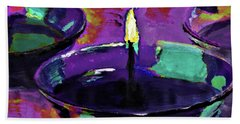 Candlelight In Plum And Mint By Lisa Kaiser Beach Towel