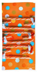Candy Canes And Christmas Hats Beach Towel