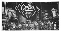 Candy Store- Ponce City Market - Black And White Beach Sheet