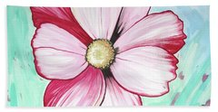 Beach Sheet featuring the painting Candy Stripe Cosmos by Mary Ellen Frazee